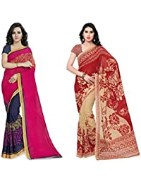 Kashvi Sarees Faux Georgette Pink_Red And Multi Color Printed Combo Saree With Blouse Piece ( 1190_1_1086_5 )
