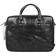 OMAX Men's Single Compartment Black Leather Laptop Bag