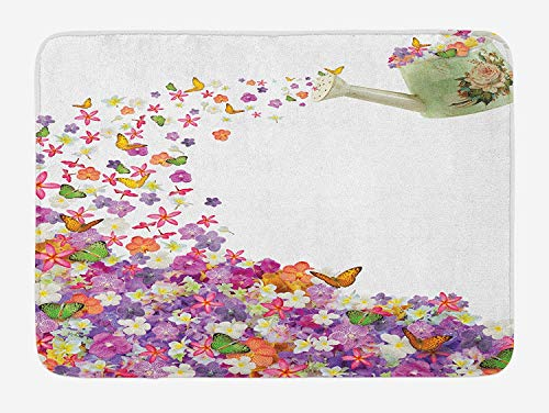 ARTOPB Floral Bath Mat, Butterflies Narcissus Flowers Violets and Pansies Pouring Out from Old Watering Can, Plush Bathroom Decor Mat with Non Slip Backing, 23.6 W X 15.7 W Inches, Multicolor -