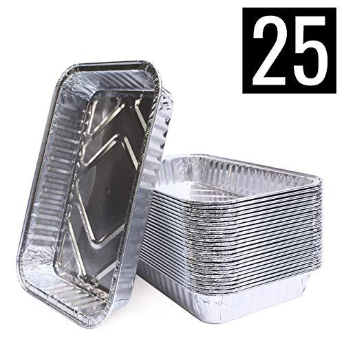 Mamatura Aluschalen | 25 Stück | Passend für Landmann Pantera | 21 x 14 cm, 650 ml | Alu-Tropfschalen, Grillschalen