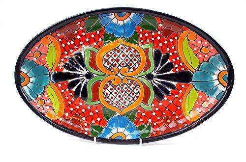 Mexikanische Handwerkskunst: Servierplatte oval, mittel, handbemalt, rot