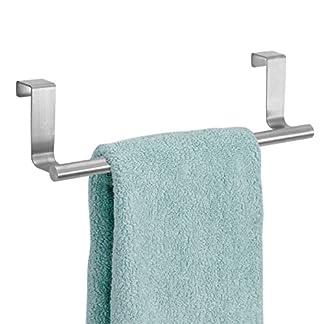 51697N6Ax3L. SS324  - mDesign Toallero sin taladro - Percha para puerta de acero inoxidable ideal para paños de cocina o toallas de baño - Montaje fácil, se cuelga en las puertas de los armarios - plateado