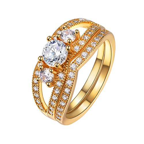Suplight Damen Ring 2er Ringe Set 18K vergoldet/platiniert Zirkonia Engagement Trauringe Fingerringe für Hochzeit Verlobungsfeier 64(Gold, - Verlobungsring Vergoldet Box