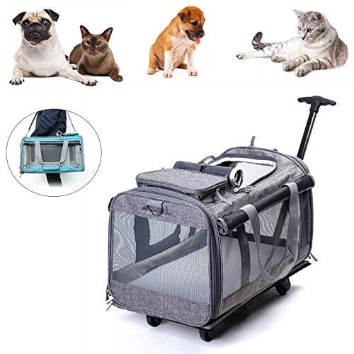 Kismaple pet pieghevole carrelli con quattro ruote trolley per cani, gatti, cuccioli passeggini, trasportino viaggio borsa da trasporto traspirante con maniglia telescopica, per fino 10kg (grigio)