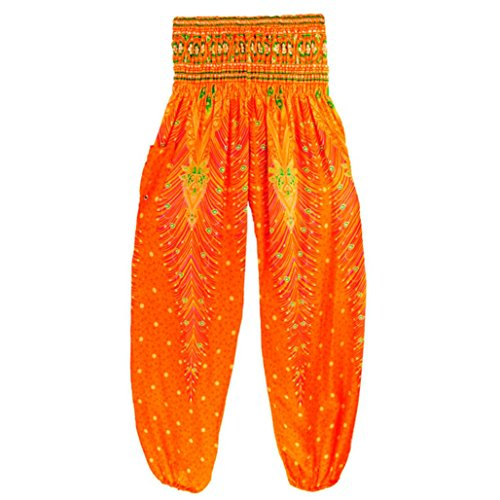 Mujer Pavo estampada Anchos yoga Bombachos pantalones deportivos,Yannerr Hombres tailandesas harén Festival hippy delantal hippie alta cintura Leggings running Pantalón gimnasio ropa (Naranja)