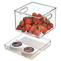 iDesign ID03113ES Set of 2 Kitchen Bin with Removable Divided Tray for Food Storage, Clear, H 6.12 x W 8.0 x D 8.0 inches, Plastic