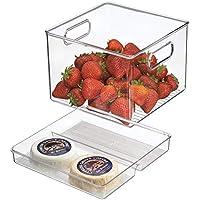 mDesign Caja organizadora transparente - Guardatodo para heladera - Contenedor en plastico resistente - Especial para conservar alimentos frescos - Sin BPA - Apto para queso, carnes y más