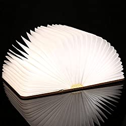 Homdox Pieghevole Luci LED Libro Lampada di Legno, Lampada Decorativa
