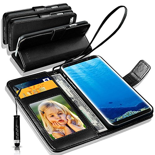 N+ INDIA Samsung Galaxy S8 Rich Leather Stand Wallet Flip Case Cover Book Pouch / Quality Slip Pouch / Soft Phone Bag (Specially Manufactured – Premium Quality) Antique Leather Case With Mini Touch Stylus Pen Black For Samsung Galaxy S8