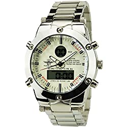 MICHAEL JOHN -Men's Watch Silver Quartz White case Steel Analogue Display-Digital Band Steel Date