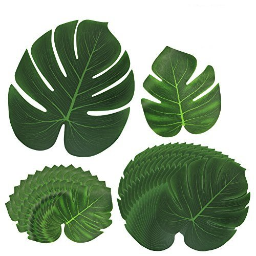 [30 Stück] Tropische Blätter, Htianc Palmenblätter Dschungel Strand Thema Party Hochzeit Dekorationen Tischdekoration (2 Teller Wand)