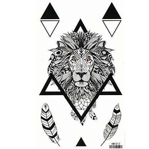 s Tattoo Löwe Federn Design Klebetattoo lion ()