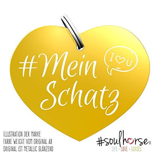 Soulhorse Marke Mein Schatz Gold - Glücksbringer für Pferde, Hundemarke - Glücksmarke für Sattel, Halfter & Trense
