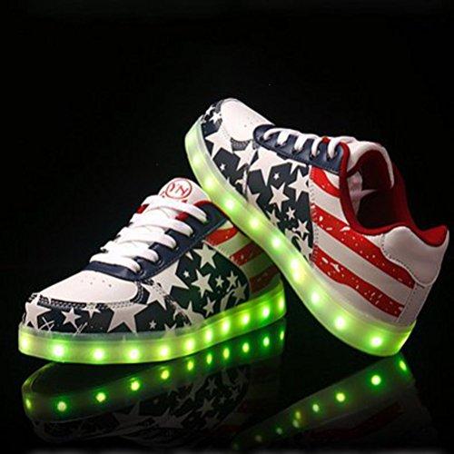 (Présents:petite serviette)JUNGLEST Blink LED Chaussures Enfant Adulte Baskets Unisexe Femme Homme lumineuse Shoes Rouge Star 35-4 Rouge