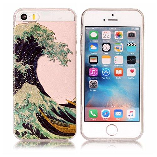 Per iPhone 5 5S SE Cover , YIGA Moda Campanula piuma Cristallo Trasparente Silicone Morbido TPU Case Caso Shell Protezione Copertura Custodia Copertina per Apple iPhone 5 5S SE XS62
