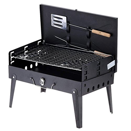 HaRvic Briefcase Style Folding & Portable Outdoor Barbeque Grill Toaster Charcoal BBQ Grill Black Colour