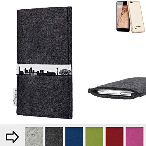 flat.design für Blaupunkt SL 04 Schutzhülle Handy Tasche Skyline mit Webband München - Maßanfertigung der Schutztasche Handy Hülle aus 100% Wollfilz (anthrazit) für Blaupunkt SL 04