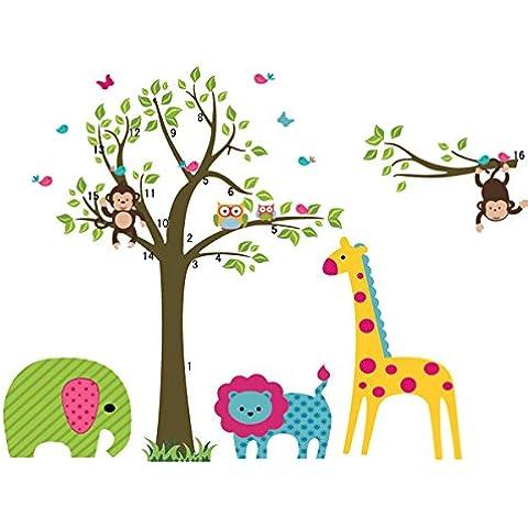 sangu Fashion Árbol con animales Wall Art Pegatinas de Pared Mural Adhesivo extraíble para Salón Decoración Del Hogar
