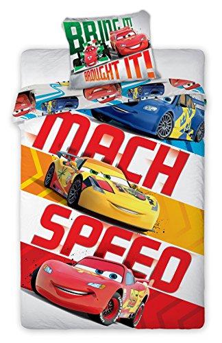 Cars Set biancheria da letto reversibile 100% cotone Copripiumino 140x 200+ federa 70x 90Idea decorativa Flash McQueen