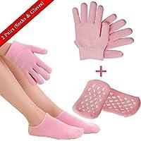 Guantes hidratantes y calcetines de spa, máscara de pieles de algodón suave con guantes SPA para hombres y mujeres en piel seca Manos y pies durante la noche (Calcetines de 1 par y guantes de 1 par)