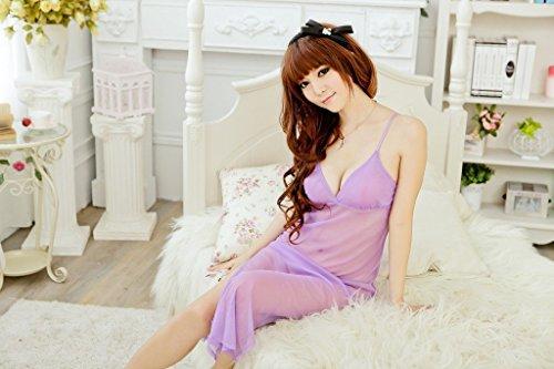 Shangrui Femmes Sling Lingerie Pyjamas Hauts-fente en Dentelle Transparente W459 Violet