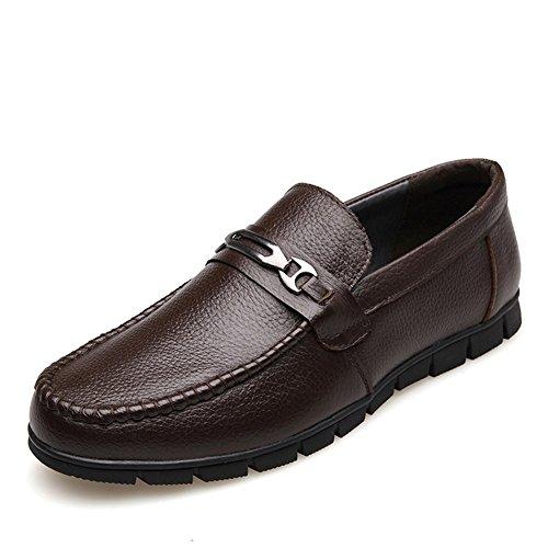 HUAN Herrenschuhe Herrenschuhe Leder Winter Frühling Sommer Herbst Komfort Mode Stiefel Loafers & Slip-Ons Rüschen für Casual Party & Abend (Color : Brown, Size : 42) (Leder Brown Color)