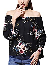 Mujer Camisas Chiffon Vintage Moda Floreadas Blusa De Carmen Sencillos Especial Casual Elegantes Otoño Manga Larga