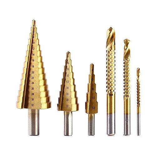 Schritt-Bohrer 3pcs 4-12mm/4-20mm/4-32mm HSS Stahlschritt-Kegel und 3pcs 3mm-8mm HSS Bohrer-Bits/Hochgeschwindigkeits Titan Kegel Bohrgerät-Werkzeug-Satz-Loch-Scherblock-Installationssatz (Kegel-box)