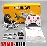 Syma X11C mini drone quadricoptère con cámara de fotos y video Full HD 2MP (similar a Hubsan H107C 2MP y AU X5C)–Color blanco