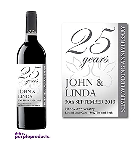 Personalised 25th Silver Wedding Anniversary Wine Bottle Label Gift for
