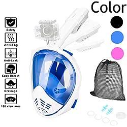 HOVNEE Masque de Plongée, Masque de Tuba Complet, à 180° Canaux Anti-Brouillard Double Flux et Deux Balles Flottantes pour Une Fixation étanche Anti-buée et Anti-Fuite (Blue- O, L)