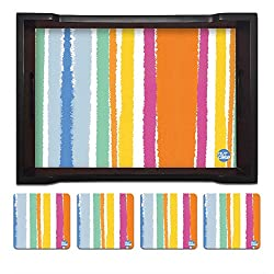 Nutcase Designer Wooden Serving Trays With A Set Of 4 Matching Metal Coasters for Kitchen Serving/Dining Set - Colorful Stripes