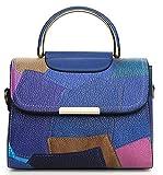 Xinmaoyuan Borse donna Lady cuciture in colori Borsa a Tracolla croce obliqua Color borsetta,blu