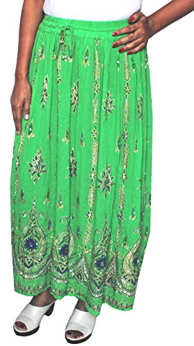 Lunga da donna Indian caviglia lunghezza India Clothing gonne paillettes Green 2