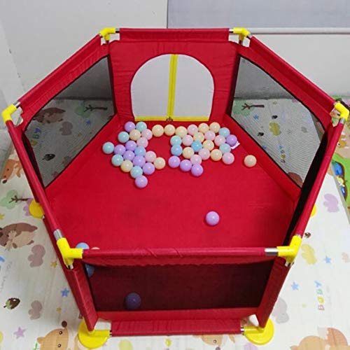 Playpens - Protable Baby Toddler Safety Play Center Yard, Big Feet Anti-rollover Children's Game Fence (color : RED)  BSNOWF