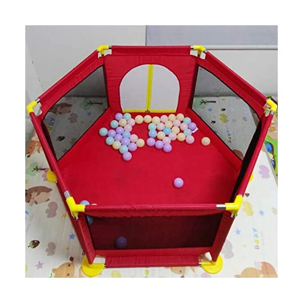 Playpens - Protable Baby Toddler Safety Play Center Yard, Big Feet Anti-rollover Children's Game Fence (color : RED) Playpens  2