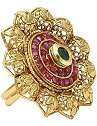 Jewels Galaxy Gold Plated Ring for Women (Golden)(RN-141)