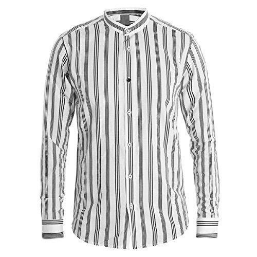 Giosal camicia uomo mod collo coreano righe nere fondo bianco cotone casual c1390a-nero-m