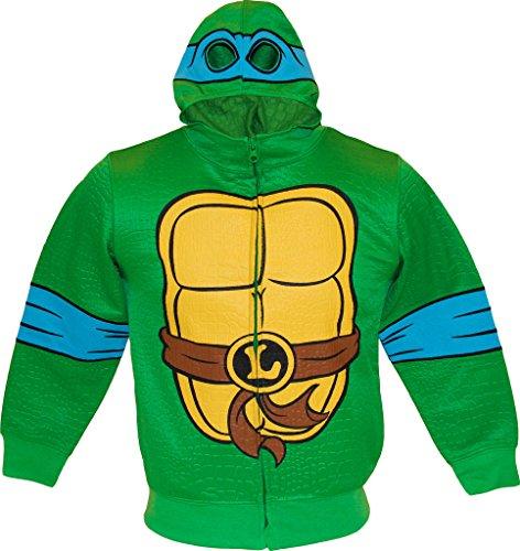 Teenage Mutant Ninja Turtles TMNT Reptilian Print Jungen Kostüm Hoodie (Large 10/12, Leonardo)