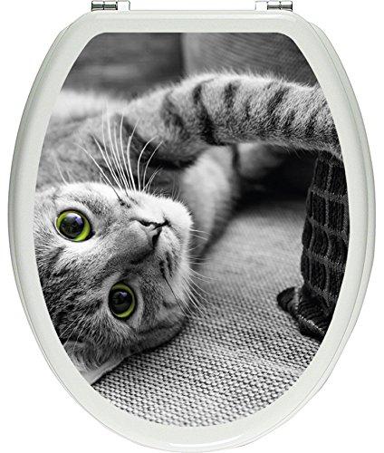 Pixxprint 3D_WCs_7202_32x40 niedliche Katze spielt mit Kissen ALS Toilettendeckel Aufkleber, WC, Klodeckel, gläzendes Material, schwarz/weiß, 40 x 32 cm