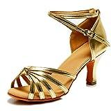 VASHCAME - Donna Scarpe da Ballo Latino/Sala da Ballo/Standard Tacco 5cm/7cm Nodo Oro 38 (Tacco-7cm)