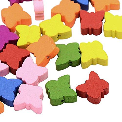 PandaHall Mischfarbe Schmetterling Holzperlen, schoene Tier-Perlen Bleifrei, gefaerbt, ca. 16 mm lang, 16 mm breit, 6 mm dick, Bohrung: 2 mm