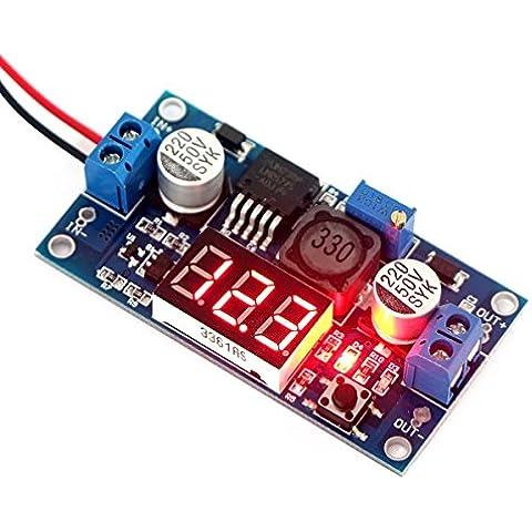 WINGONEER LM2577 convertidor del alza DC 3-34V 4-35V a 5V / 12V Paso ascendente ajustable voltios Regulador con el módulo de fuente de alimentación del monitor LED rojo del voltímetro del voltaje