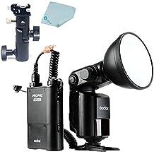 Mcoplus Godox Witstro AD360II-C TTL HSS 360W GN80 potente 2.4G Wireless X luz de destello de Speedlite sistema + 4500mAh Batería de litio de PB960 para cámara Canon con enchufe de Reino Unido + Mcoplus paño de limpieza
