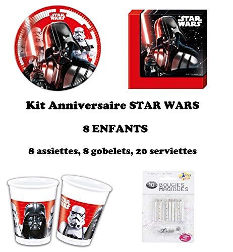 Uni que Kit Star Wars Final Battle 36 pièces Disney Anniversaire Fête 8 Enfants (8 gobelets, 8 Assiettes et 20 Serviettes) 10 Bougies offertes