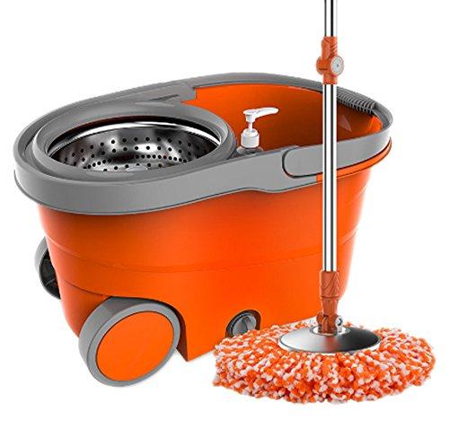 Foto de Fregona con cubo de microfibra y cepillo en 5 piezas - Giratorio en multifunción 350 ° y multicolor con garantía de un año (Tiger Orange)