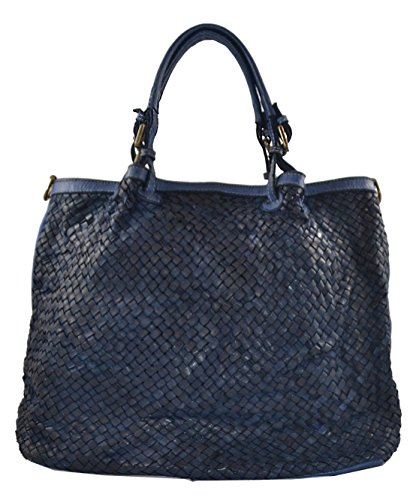 Superflybags Damentasche Schultertasche Echtes Leder Vintage Geflochten Gewaschenes Leder Modell Granada Made in Italy Dunkelblau