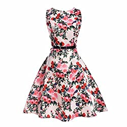 Girls Vintage Cotton Dresses With Belt 1950's Sleeveless Round Neck Floral Print For Party