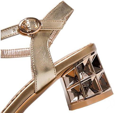 NobS Strass tacco medio Plus Size sandali 34-43Size Gold
