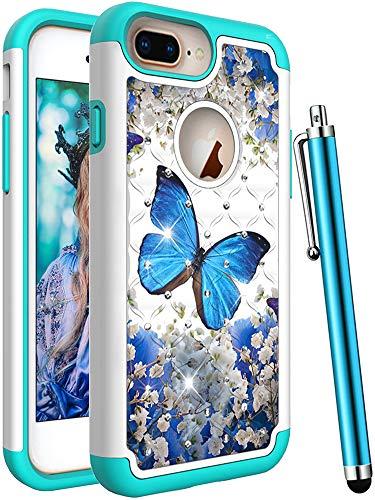 CAIYUNL Schutzhülle für iPhone 7 Plus/iPhone 8 Plus/iPhone 6S Plus/iPhone 6 Plus, Defender Cheap mophie Best Durable Colors Guy, A Blue Butterfly